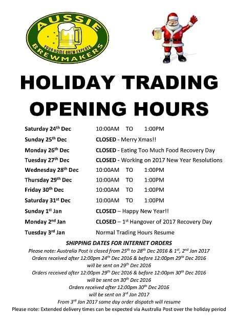 Holiday Trading Hours 1