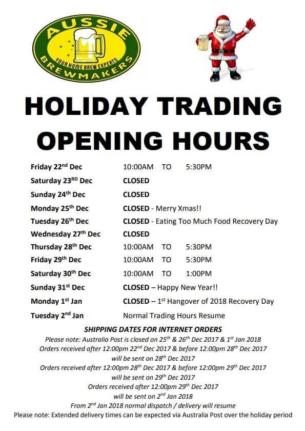 2017 Holiday Trading Hours & Shipping Schedule 5