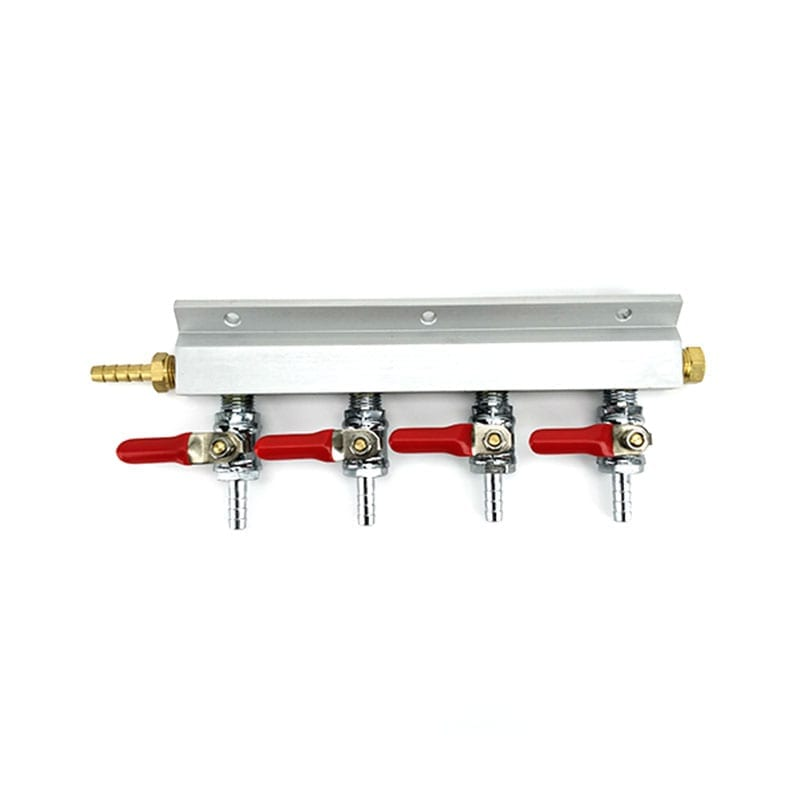4 Way Output Gas Line Manifold Splitter with Integrated Check Valves