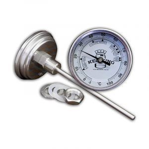 Bi-Metal 3 Inch Dial Weldless Thermometer - Long Stem 132mm