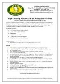 High Country Special Pale Ale Recipe