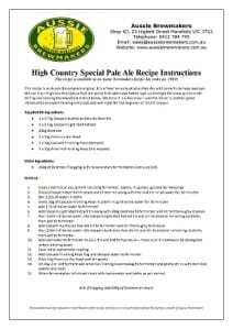 High Country Special Pale Ale Recipe 1