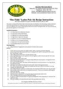 One Fiddy Lashes Pale Ale Recipe Kit Instructions-212x300