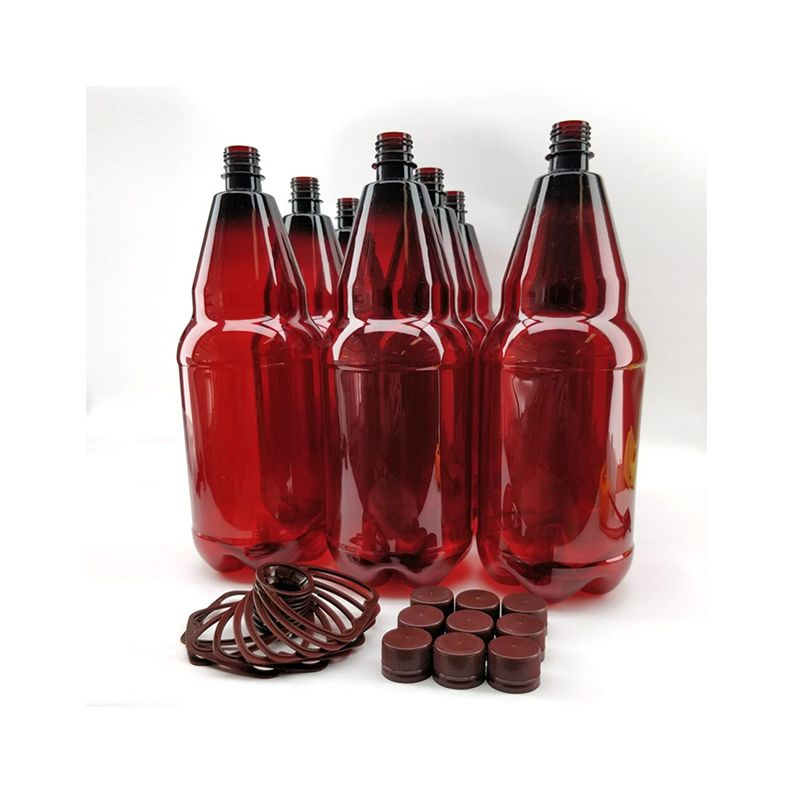 Amber PET bottles 2.5L Pack of 9 with screw caps