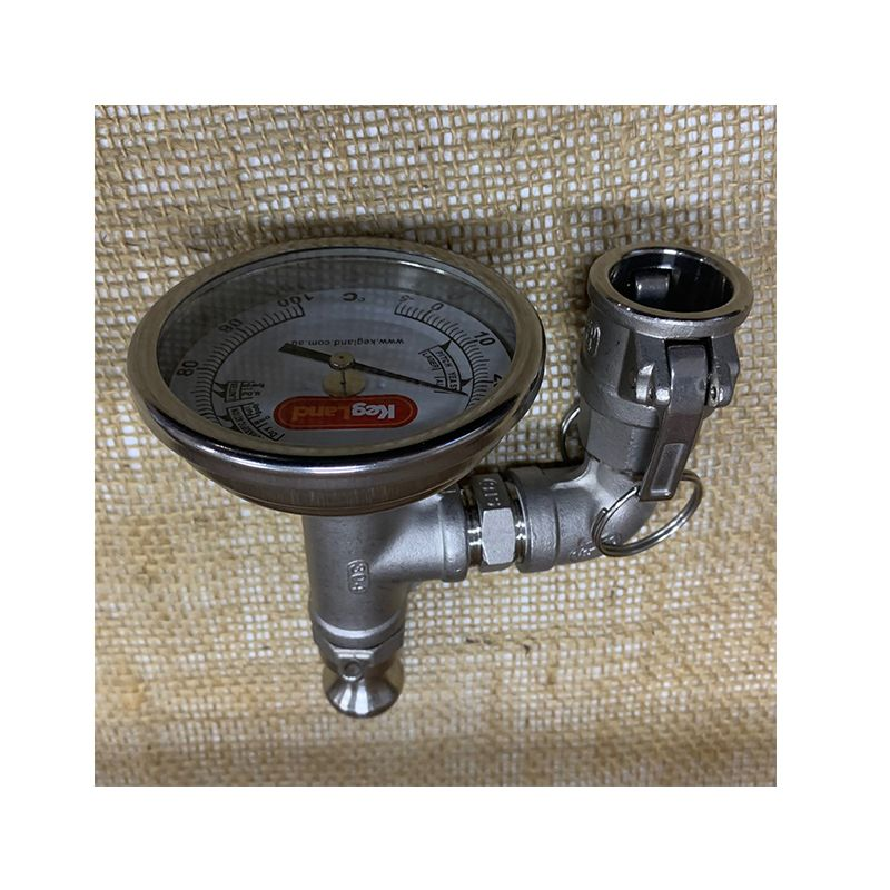 In-Line Wort Thermometer / Wort Meter with Camlock Fittings Top View