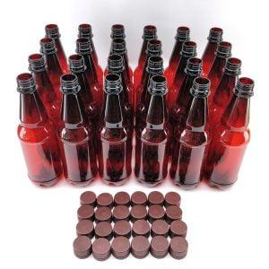 Amber PET bottles 500ml x 24 With Screw Caps